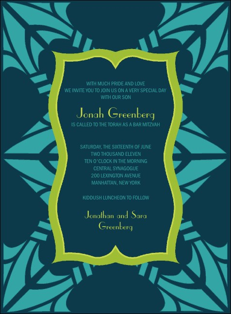 Bar Mitzvah Teal & Green Invitation