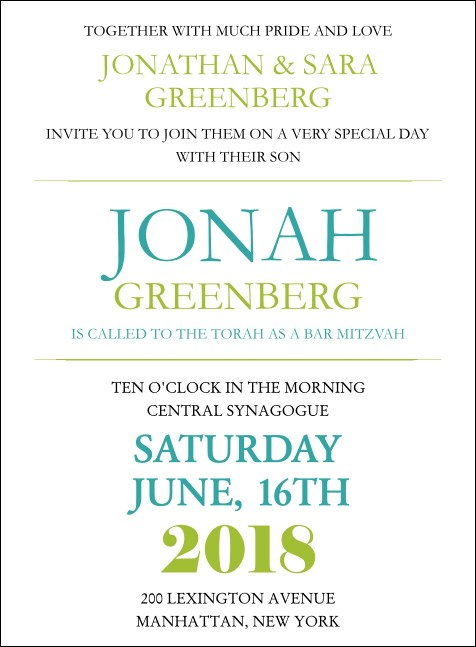 Bar Mitzvah Green and White Invitation