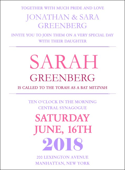 Bat Mitzvah Pink and Lavender Invitation