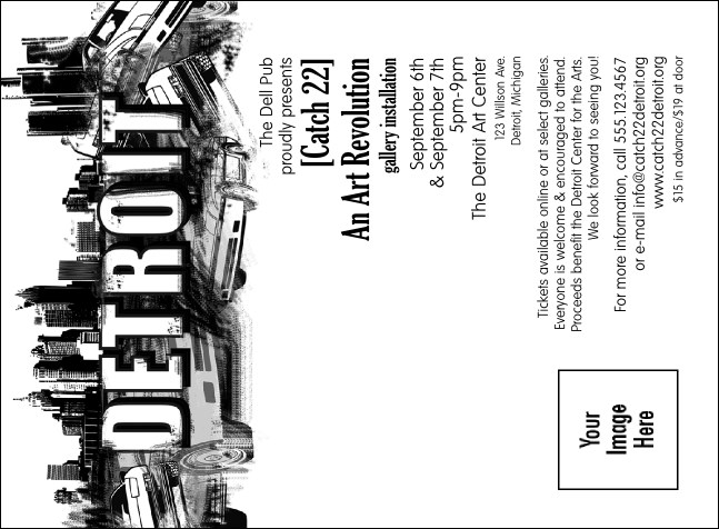 Detroit BW Invitation Product Front