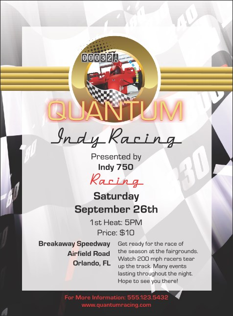 Indy Racing Invitation Product Front