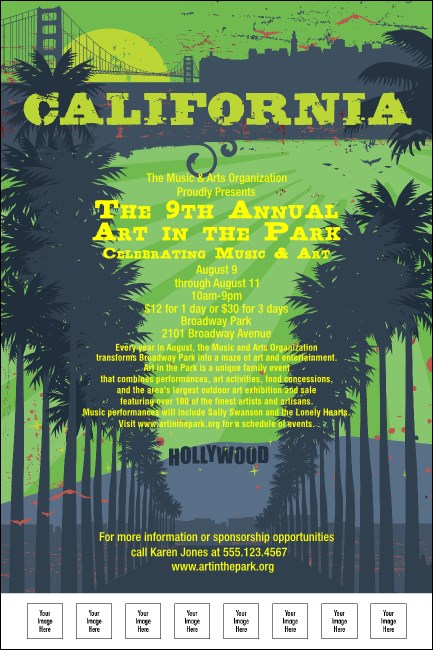 California Poster (Green and Blue) Product Front