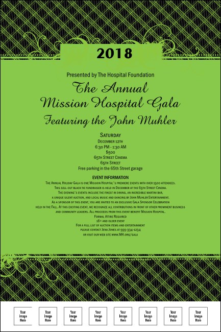 Year Gala Plaid Green Poster