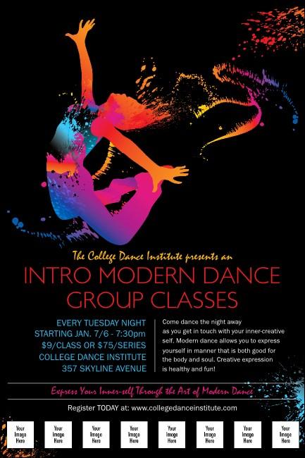 modern dance black logo poster