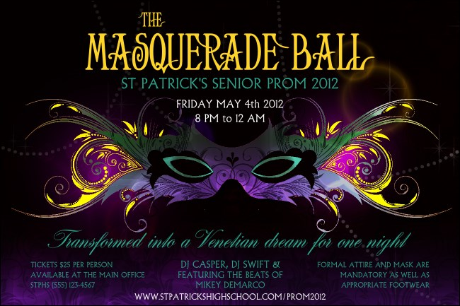 Masquerade Ball Poster  Prom Tickets Design