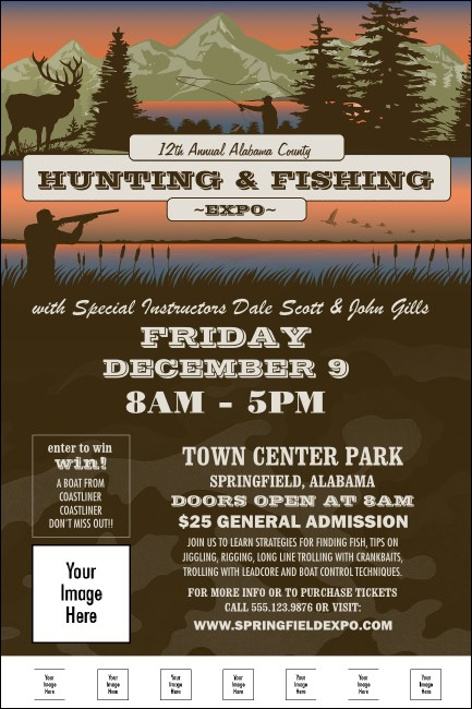 Fishing and Hunting Expo Green Camo Poster
