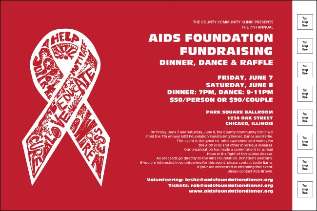 AIDS Fundraising Event Poster with Image Upload Product Front