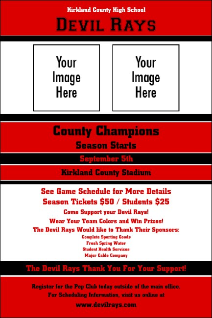 Sports Poster 002 in Red and Black