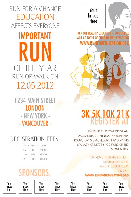 Run for a Cause Orange Logo Poster