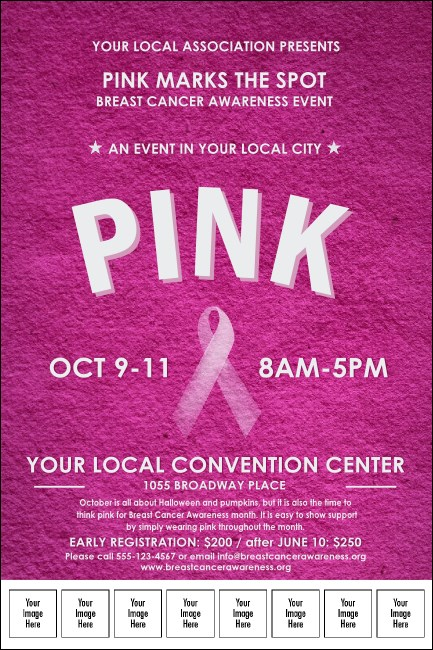 Breast Cancer Pink Ribbon Logo Poster