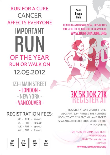 Run for a Cause Pink Postcard