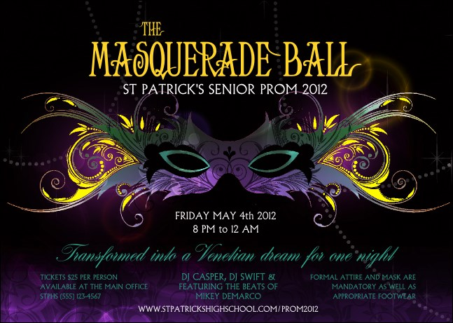 Masquerade Ball Postcard Product Front