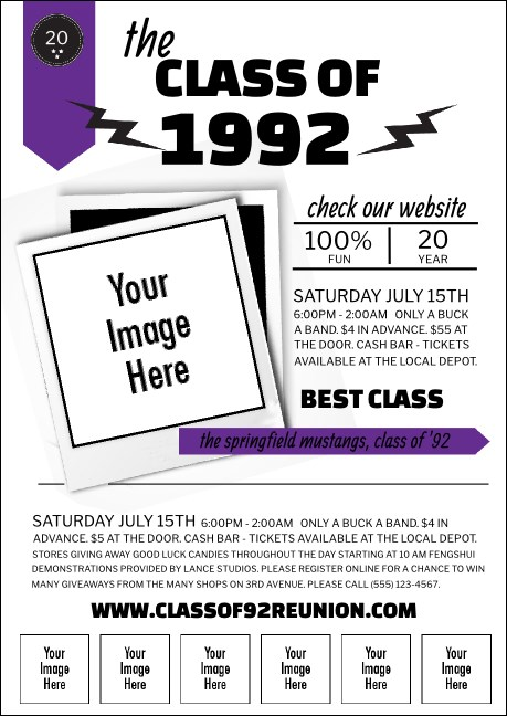 Class Reunion Mascot Purple Postcard Product Front