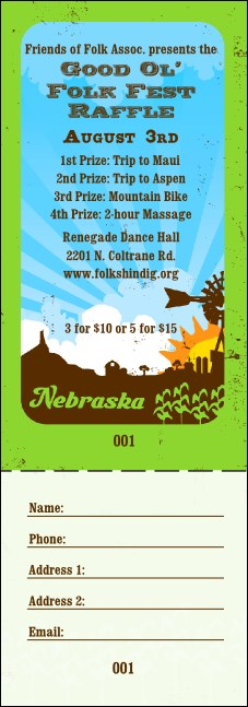 Nebraska Raffle Ticket