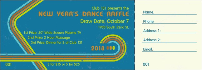 Retro Rainbow Raffle Ticket
