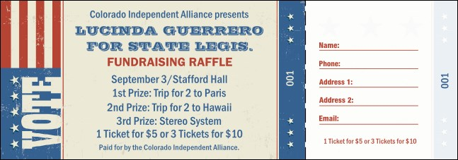 Americana Raffle Ticket Product Front