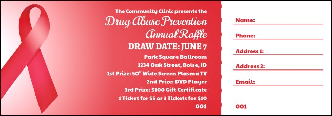 Red Ribbon Raffle Ticket