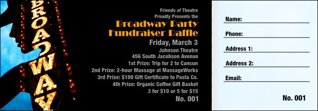 Broadway Raffle Ticket Product Front