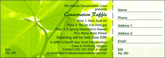 Nature Series - Green Leaves Raffle Ticket Product Front