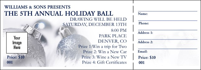 Christmas Ornament Raffle Ticket Product Front