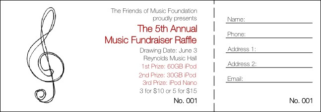 Music Festival 1 Raffle Ticket