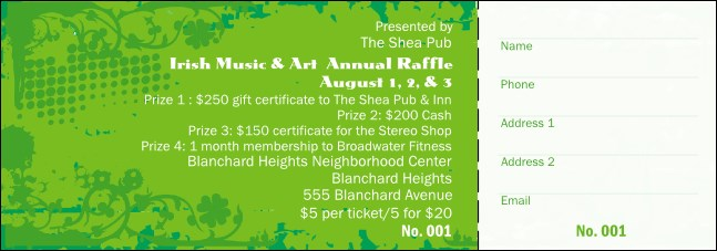 Irish Raffle Ticket
