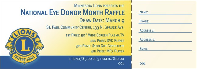 Lions Club Raffle Ticket 002 Product Front