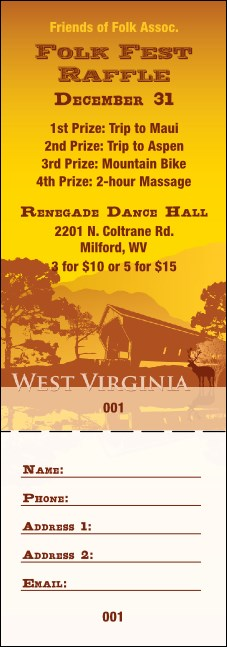 West Virginia Raffle Ticket Product Front