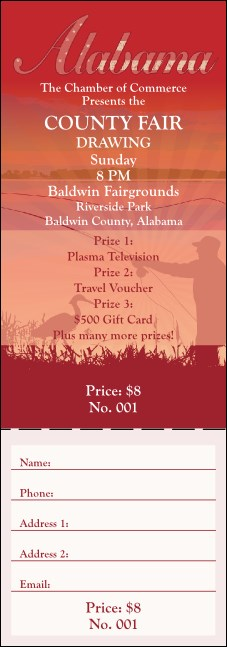 Alabama Raffle Ticket Product Front