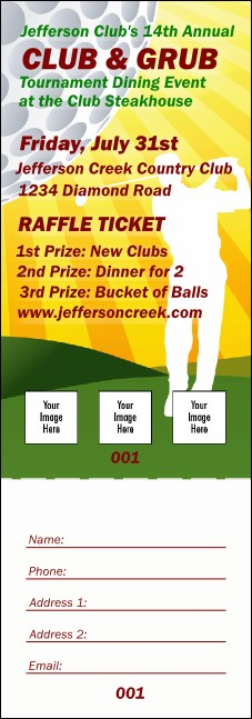 Golf Backswing Raffle Ticket