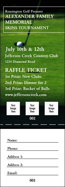 Golf Photo Raffle Ticket Product Front
