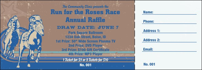 Horse Racing Raffle Ticket 002 Product Front