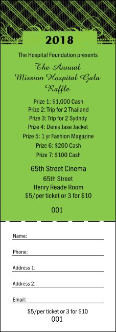 Year Gala Plaid Green Raffle Ticket