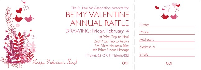 Valentine Love Birds Raffle Ticket Product Front