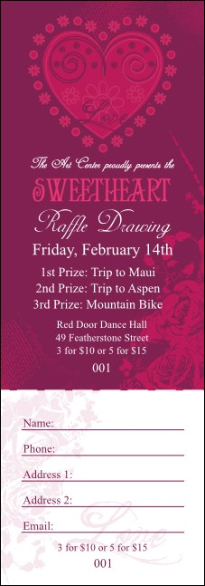 Valentine Heart Raffle Ticket