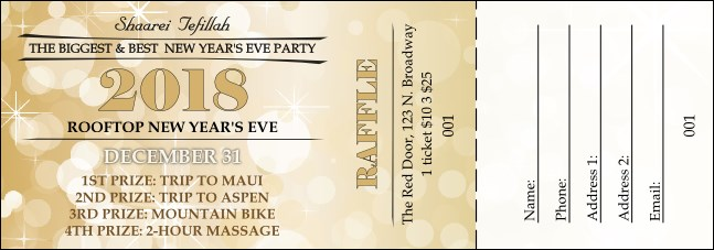 Gold Glitter Raffle Ticket Product Front