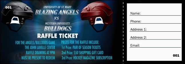 Hockey Faceoff Raffle Ticket