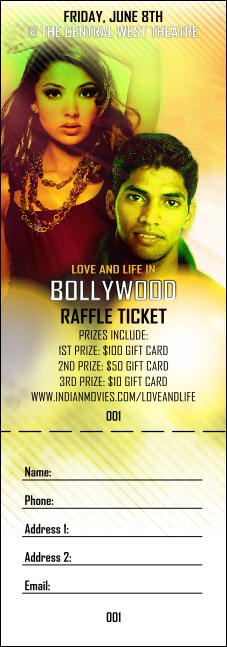 Bollywood Raffle Ticket