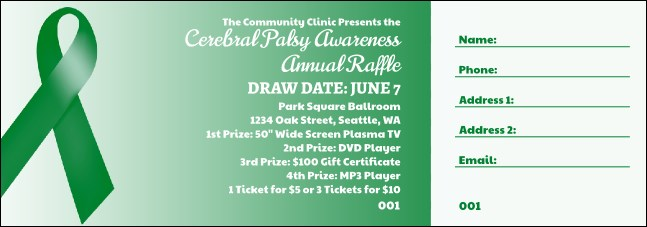 Green Ribbon Raffle Ticket