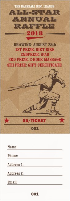 All-Star Retro Baseball Raffle Ticket