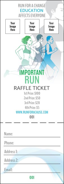 Run for a Cause Blue & Green Raffle Ticket
