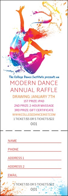 Modern Dance White Raffle Ticket