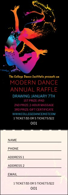 Modern Dance Black Raffle Ticket