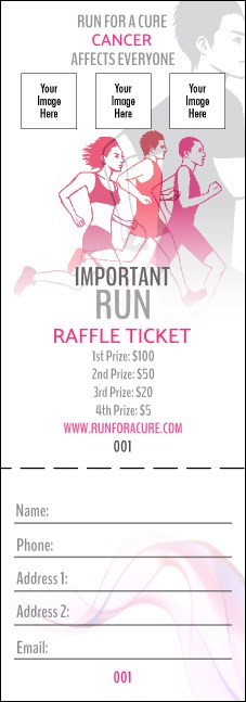 Run for a Cause Pink Raffle Ticket