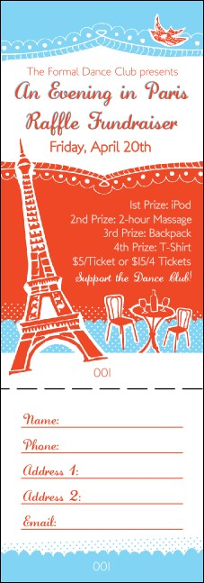 Whimsical Paris Raffle Ticket