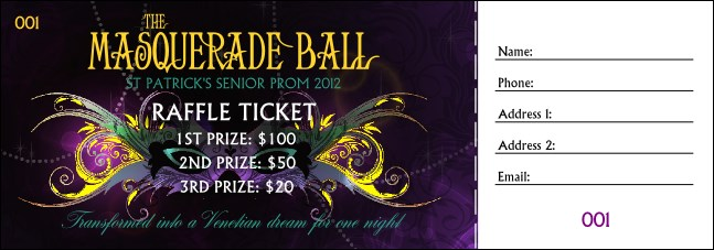 Masquerade Ball Raffle Ticket Product Front