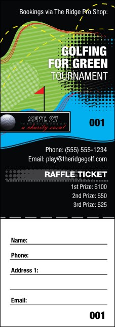 Golf Water Hazard Raffle Ticket