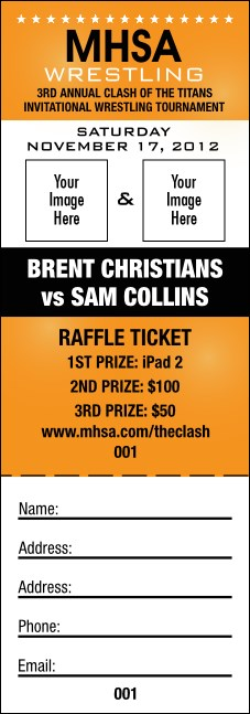 Versus Orange Raffle Ticket
