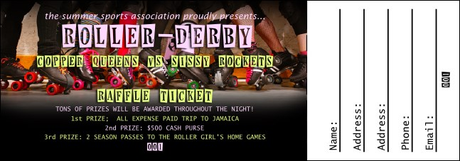 Roller Derby Legs Raffle Ticket