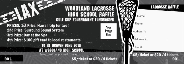 Lacrosse Stick Raffle Ticket Product Front